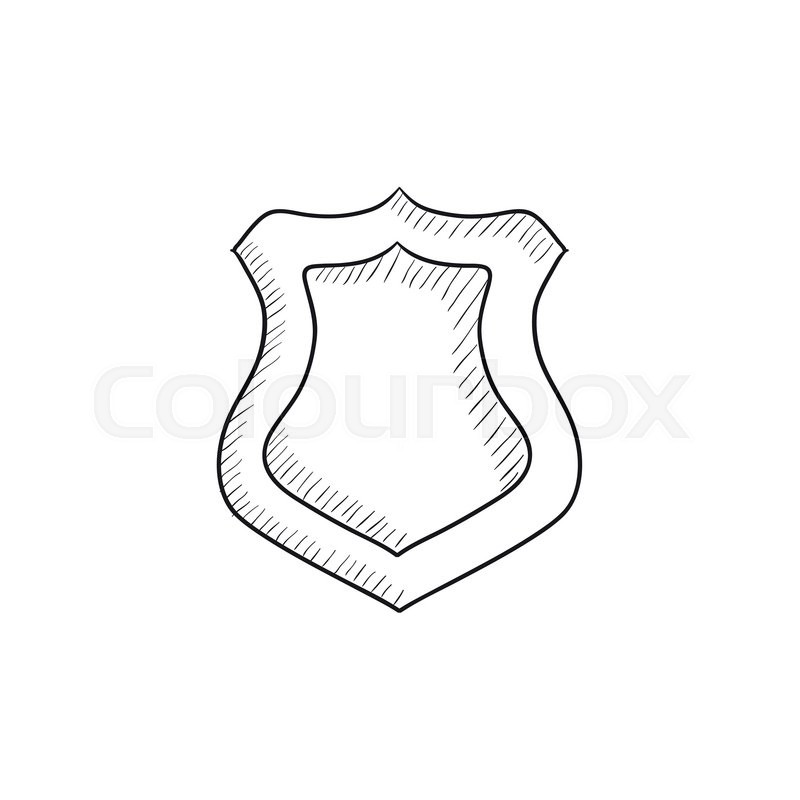 800x800 Police Badge Vector Sketch Icon Isolated On Background. Hand Drawn