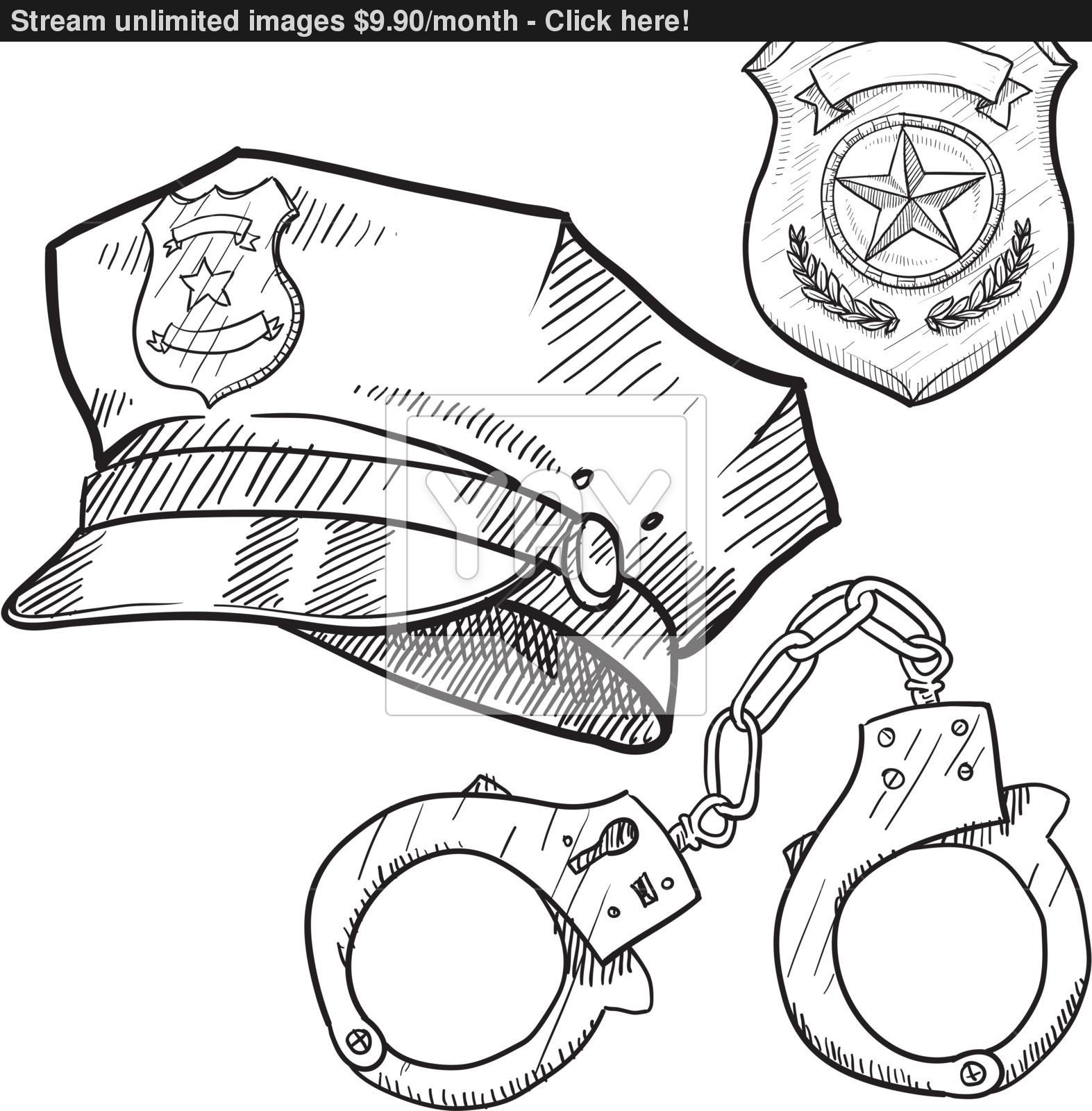 1573x1600 Police Gear Sketch Vector