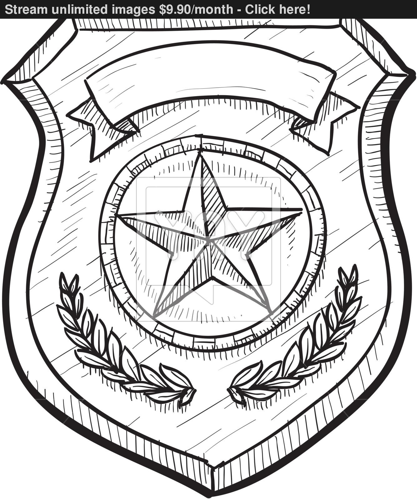 1335x1600 Police Or Firefighter Badge Sketch Vector