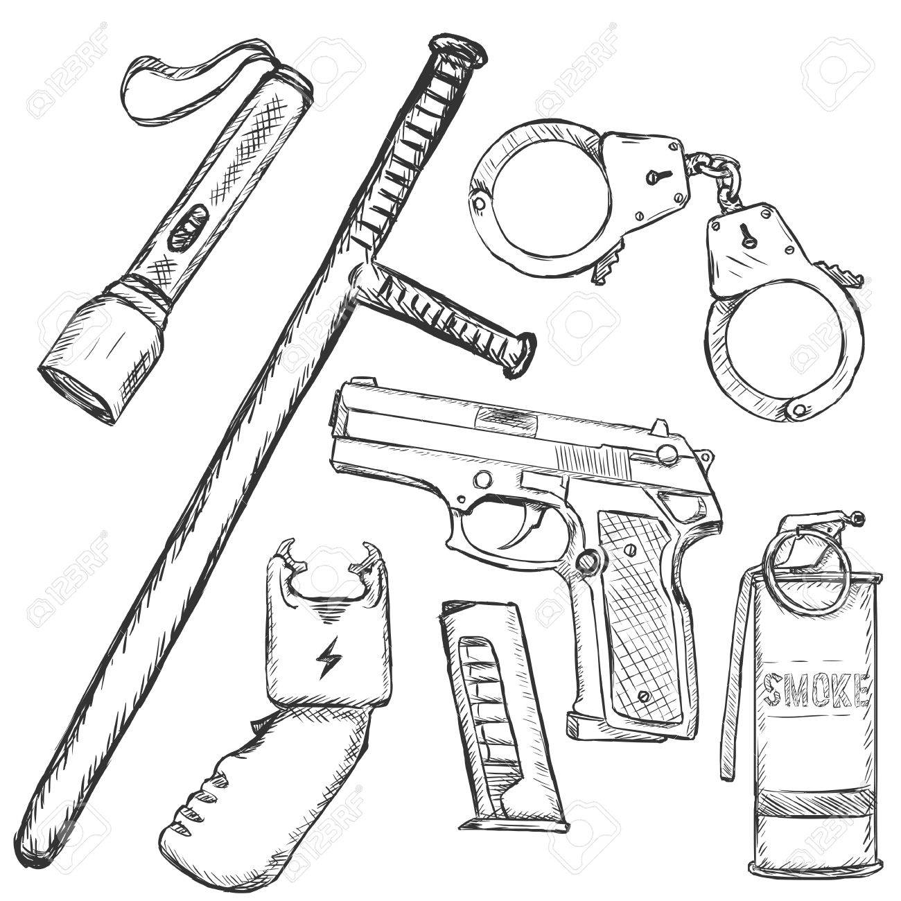 1300x1300 Vector Sketch Set Of Police Weapon And Equipment On White