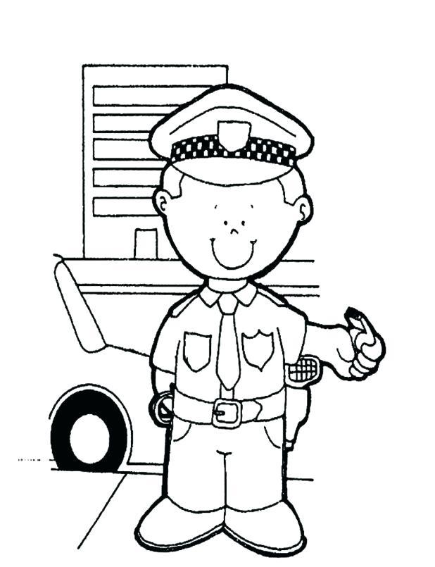 618x805 Inspiring Design Ideas Police Hat Coloring Page Policeman Hiseek