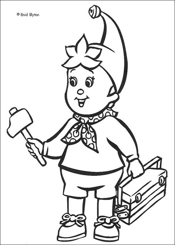 607x850 Noddy Wears Mr. Plod's Police Hat Coloring Pages