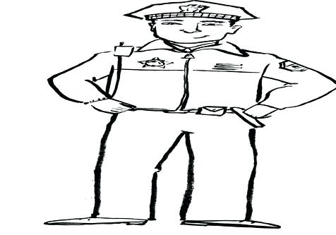476x333 Police Hat Coloring Page Badge On Policeman Hat Coloring Page