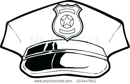 450x291 Police Hat Coloring Page Of A