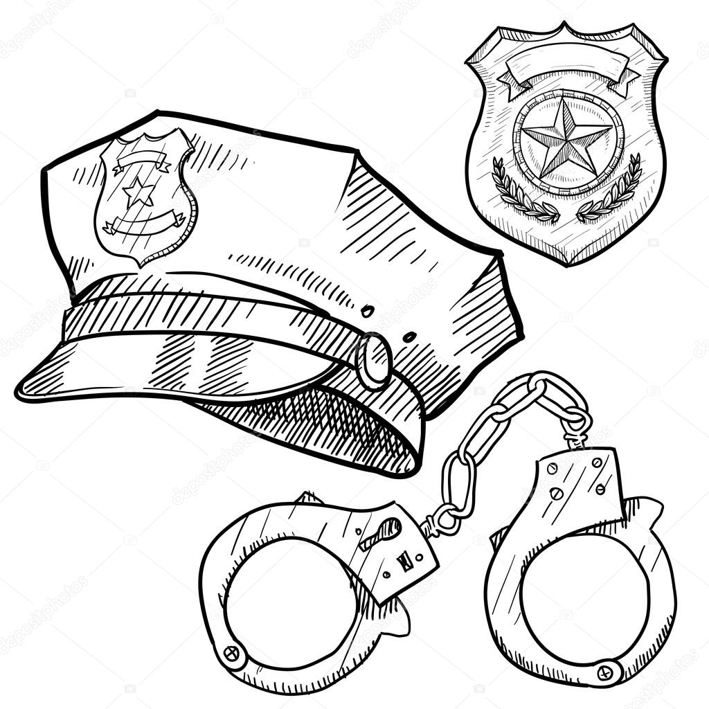 1024x1024 Police Objects Sketch Stock Vector Lhfgraphics