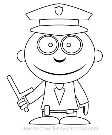 375x451 Drawing A Policeman Cartoon