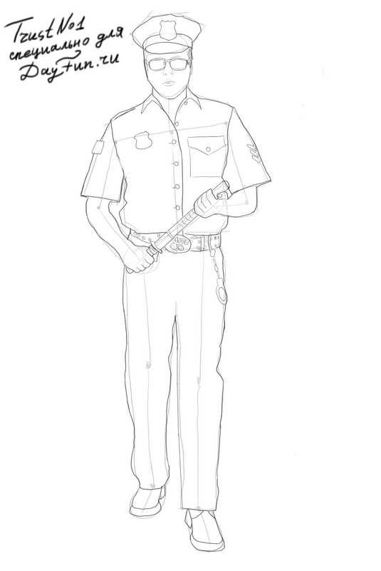 535x800 How To Draw A Policeman Step By Step