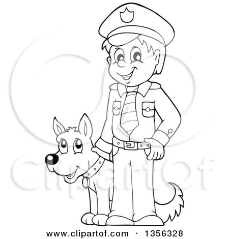 450x470 Clipart Of A Black And White Police Officer Holding A Sign