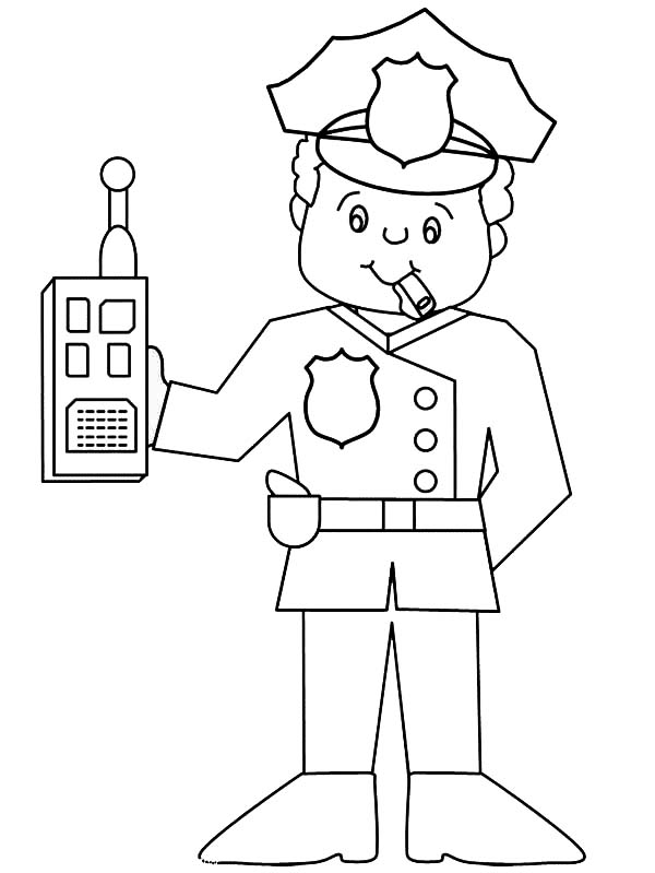 600x799 Police Officer With Walkie Talkie Coloring Page