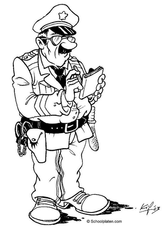 530x750 Coloring Page Police Officer