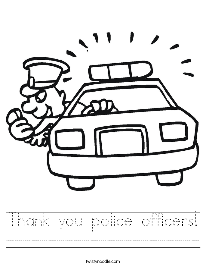 685x886 Thank You Police Officers Worksheet