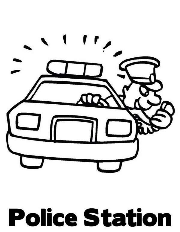 600x776 Police Car Station Coloring Page Color Luna