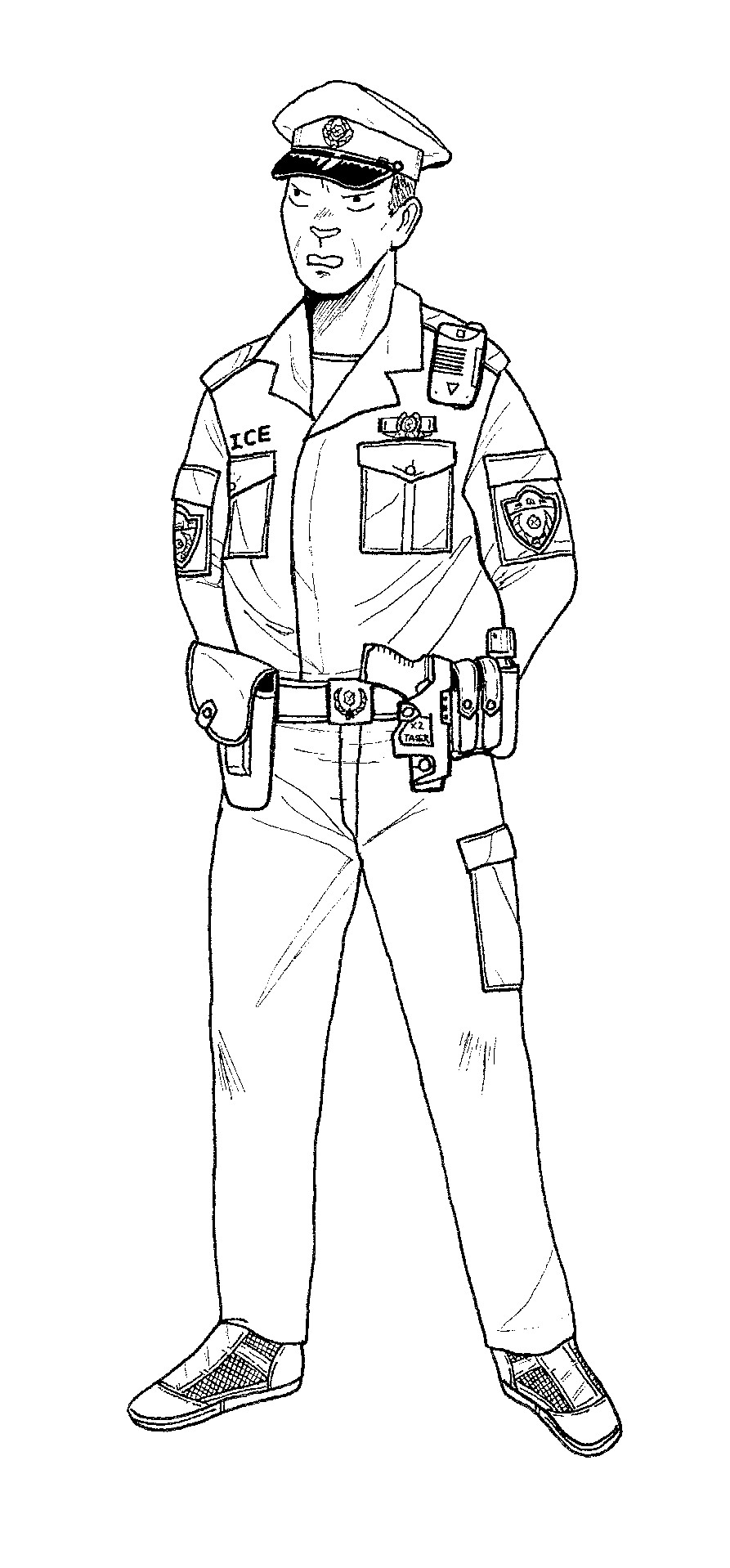 893x1918 Police Coloring Page