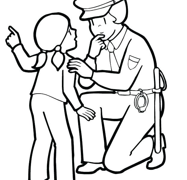 622x600 Police Officer Coloring Page As Cool Police Car With Officer