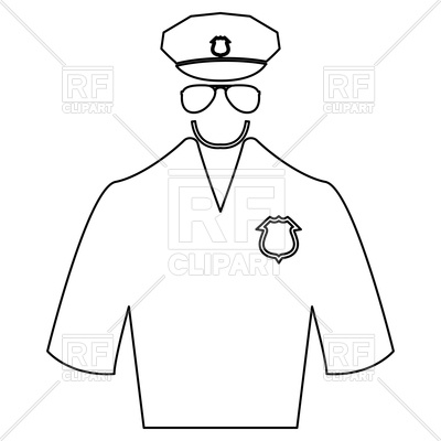 400x400 Police Uniform Outline On White Background Royalty Free Vector