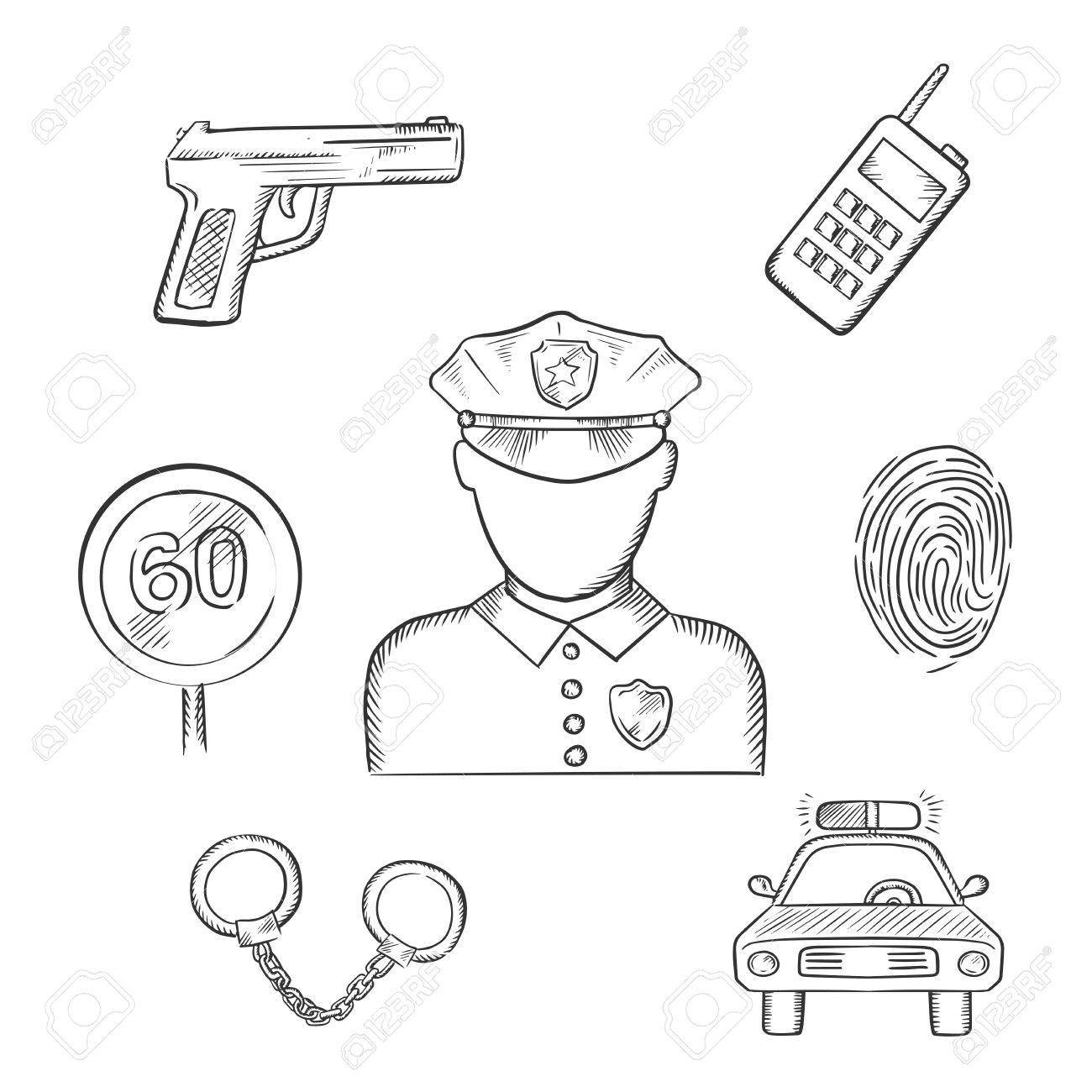 1300x1300 Policeman Profession Icons With Officer In Uniform Surrounded