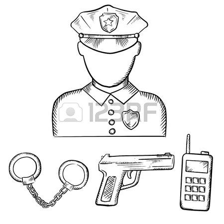 450x450 Sketch Of Police Officer In Uniform With Badge And Peaked Hat