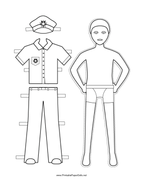 281x364 This Free, Printable Policeman Paper Doll Has Snappy Uniform,
