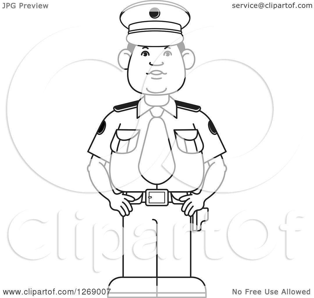1080x1024 Clipart Of A Black And White Police Man Standing In Uniform