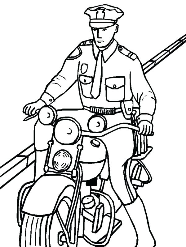 600x799 Police Officer Coloring Page 88 In Addition To Police Officer
