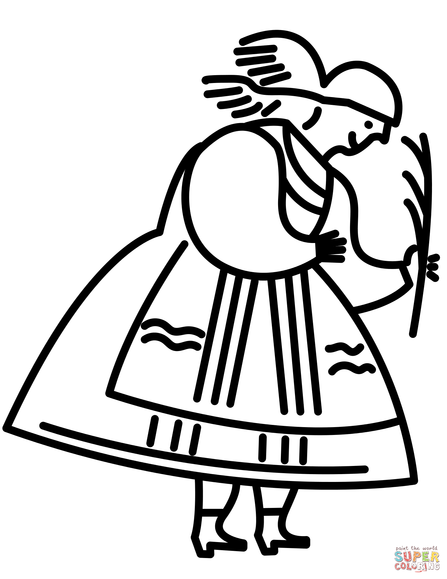 1429x1849 Polish Woman In Traditional Folk Dress Coloring Page Free
