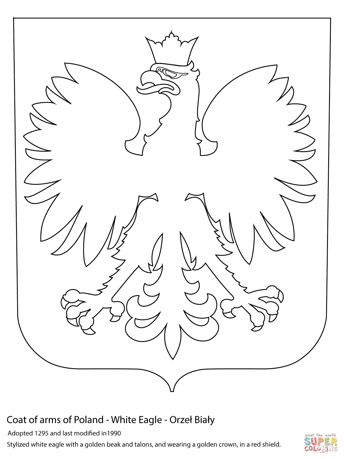 1198x1597 Coat Of Arms Of Poland Coloring Page Free Printable Coloring Pages