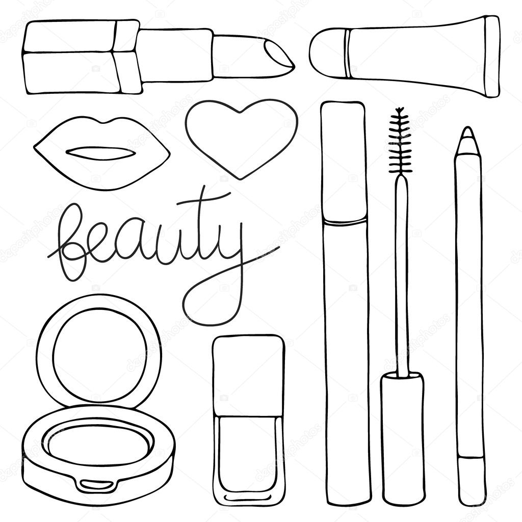 1024x1024 Cosmetics Or Make Up Set. Hand Drawn Cartoon Collection