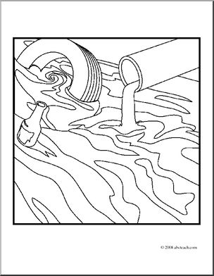 304x392 Clip Art Environmental Concerns Water Pollution (Coloring Page