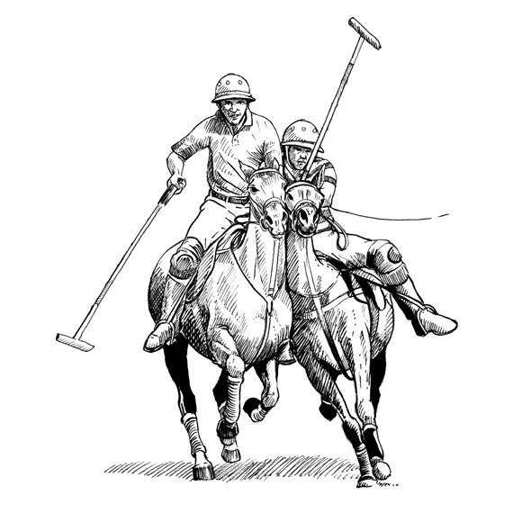 570x570 Polo Pony Push And Bumps. Giclee Print Of Polo Ponies Pushing