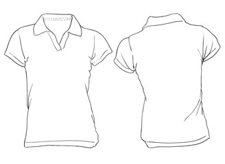 328x240 Female Shirt Template. White Woman Polo Shirt Template Vector Free