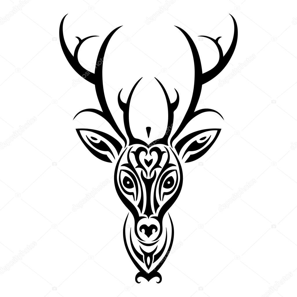 1024x1024 Deer Head. Polynesian Tattoo Style Stock Vector Katyaulitina