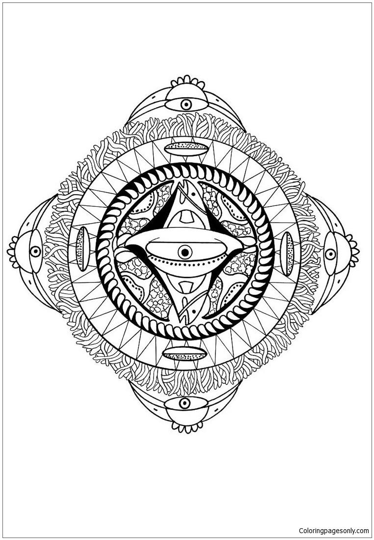 762x1099 Polynesian Mandala With Face Bird And Fish Coloring Page