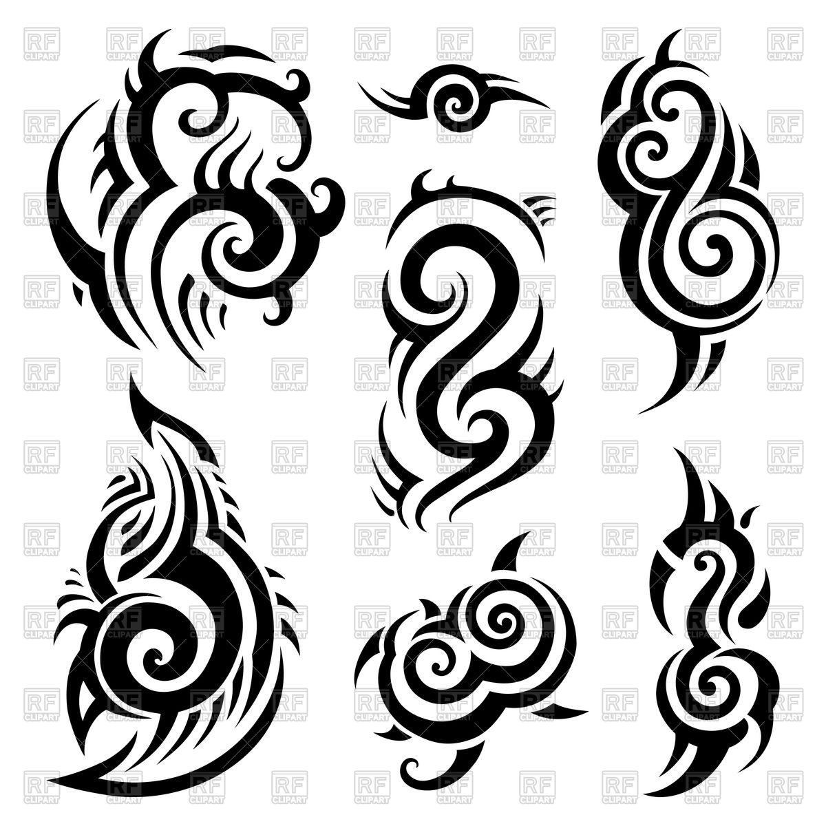 1200x1200 Polynesian Tattoo Traceries Royalty Free Vector Clip Art Image