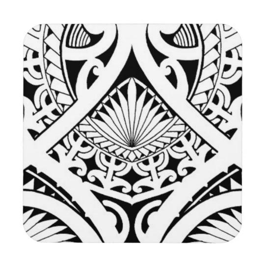 540x540 Mixed Polynesian Maori Tribal Tattoo Coconut Leaf Beverage Coaster