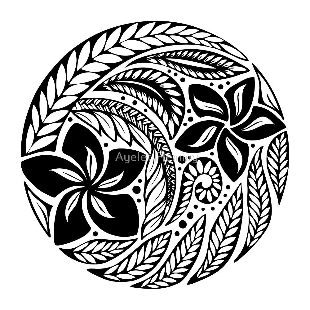 1000x1000 Circular Polynesian Tribal Black Floral Tattoo By Ayelet Fleming