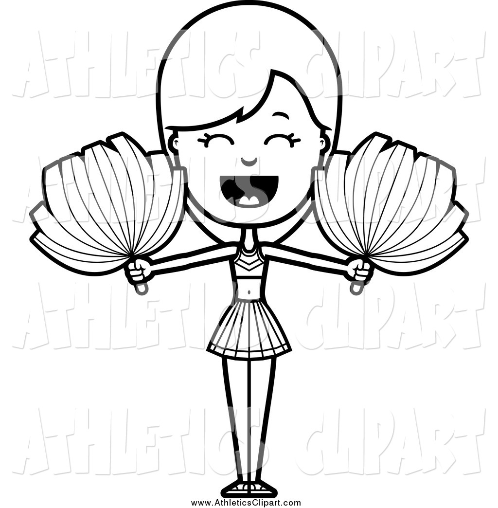 1024x1044 Clip Art Of A Lineart Shouting Cheerleader With Pom Poms By Cory