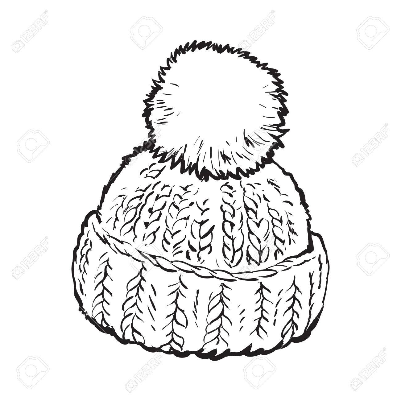 1300x1300 Bright Winter Knitted Hat With Pompon, Sketch Style Vector