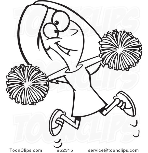 581x600 Cartoon Black And White Happy Cheerleader Jumping With Pom Poms