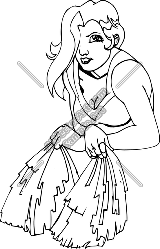 322x500 Girl Cheerleader Holding Pom Poms Clipart And Vectorart Sports