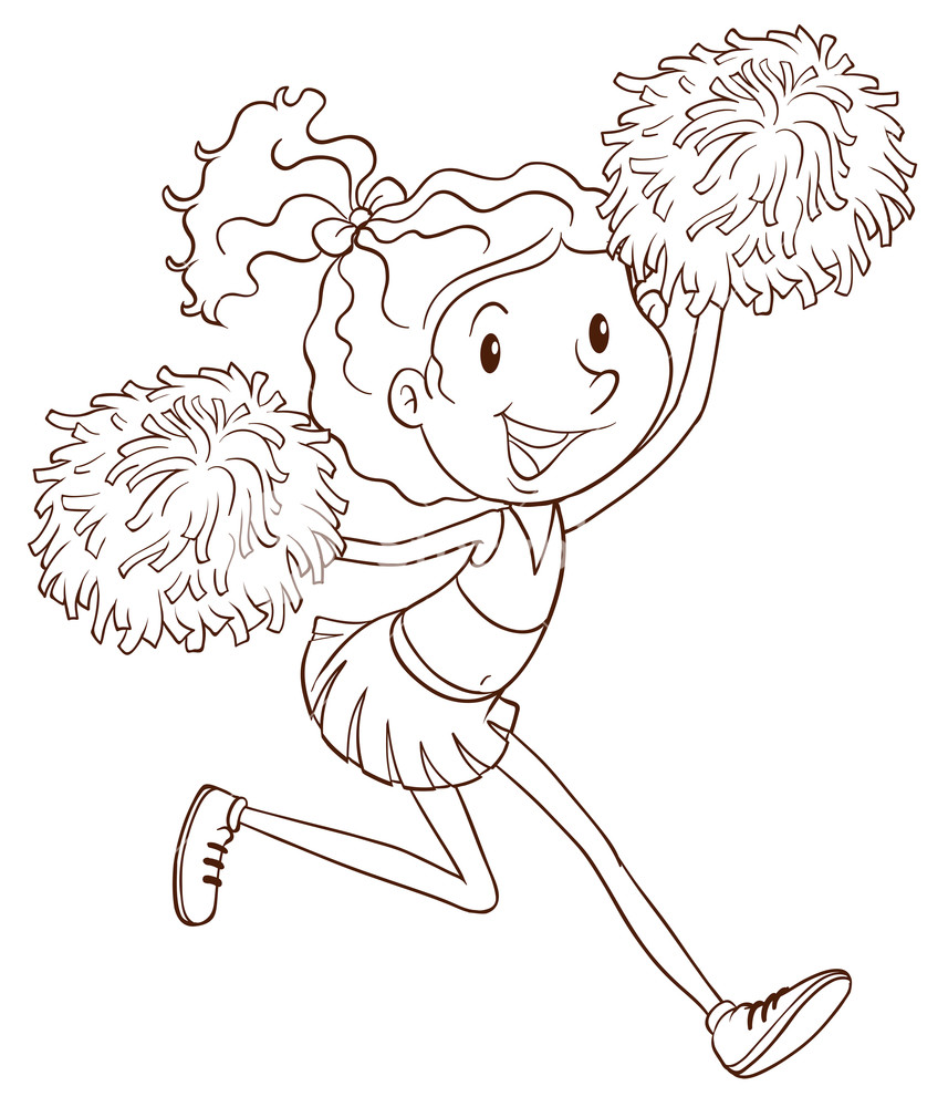 857x1000 A Plain Drawing Of A Cheerleader On A White Background Royalty