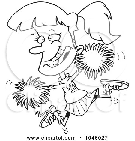 450x470 Cartoon Of A Happy Cheerleader Jumping With Green Pom Poms