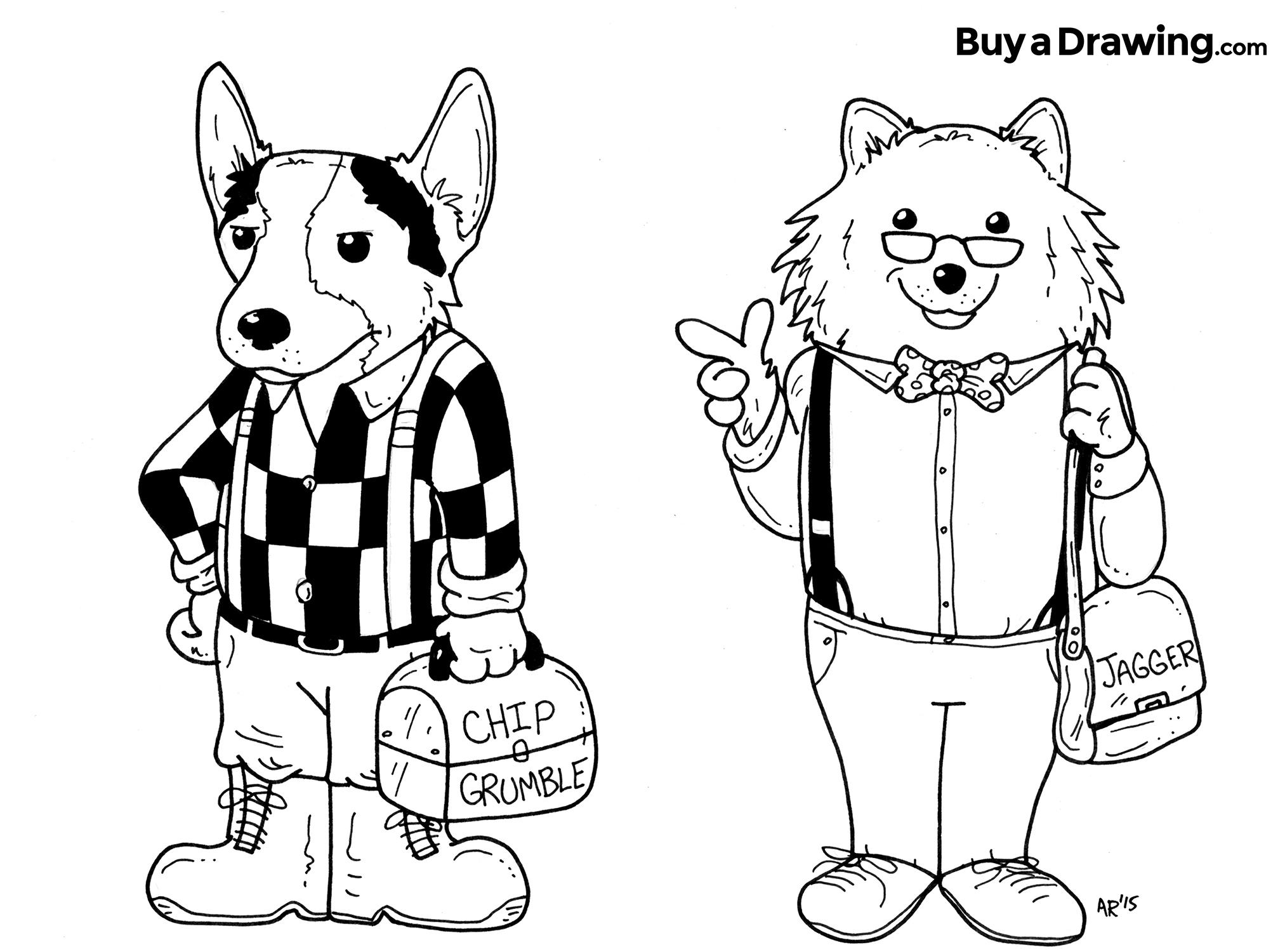 2025x1500 Corgi And Pomeranian Dog Caricature Cartoon Drawings