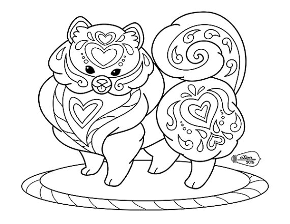 570x441 Cute Decorated Pomeranian Adult Coloring Page By Sugarcubegoblin