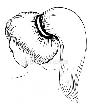 377x450 Ponytail Hairstyle Stock Vectors, Royalty Free Ponytail Hairstyle