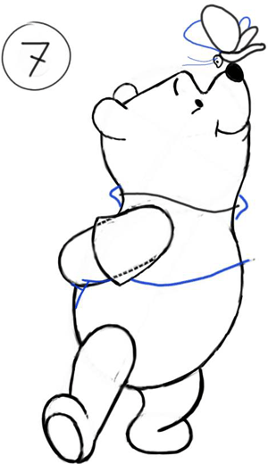 300x520 How To Draw Winnie The Poo And Butterfly With Step By Step Drawing