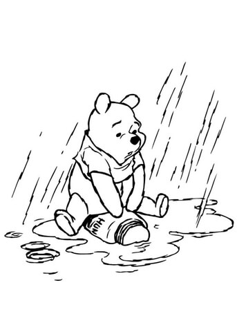 343x480 Winnie The Pooh In The Rainy Day Coloring Page Free Printable
