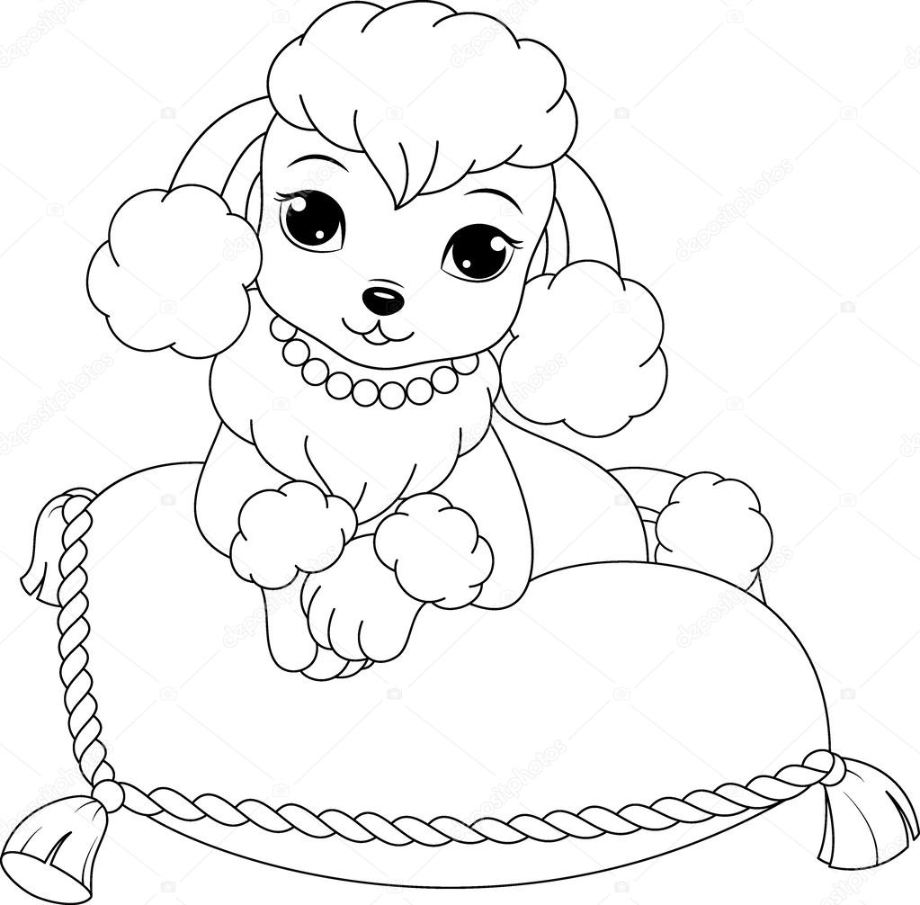 1023x1006 Poodle Coloring Page Stock Vector Malyaka