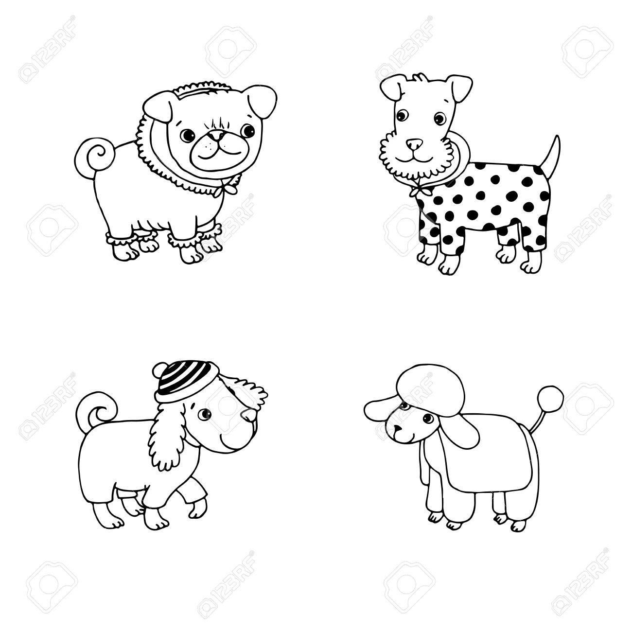 1300x1300 Cute Cartoon Dogs In Winter Clothes. Pug, Terrier, Poodle, Setter