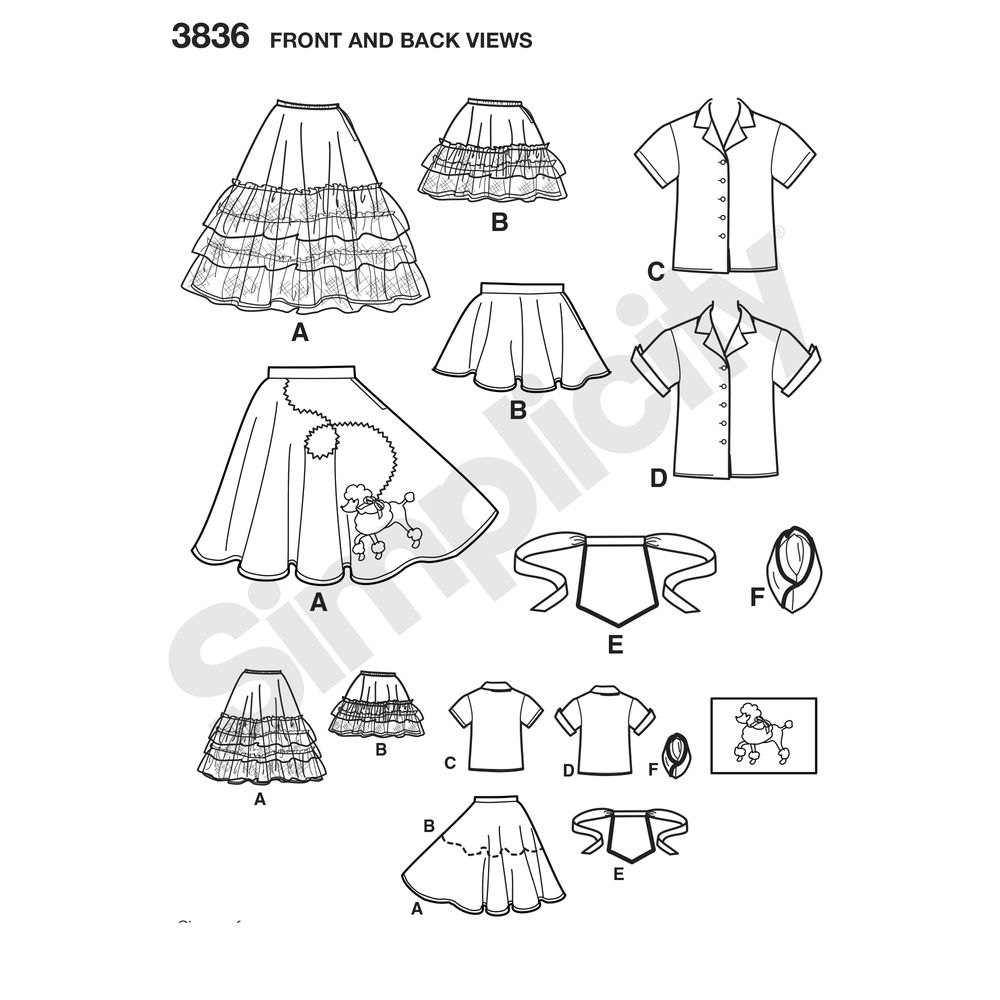 1000x1000 Girls 1950s Poodle Skirt And Waitress Costume Sewing Pattern