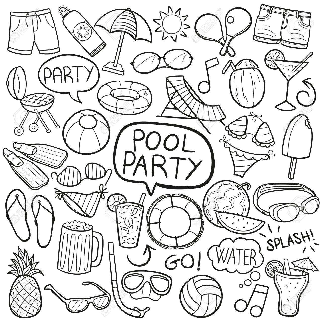 1300x1300 Pool Party Doodle Icon Sketch Vector Art Royalty Free Cliparts